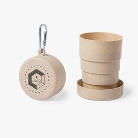 Foldable bamboo cups with carabiner | 220 ml