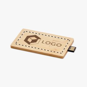 USB rectangular de bamboo 16GB