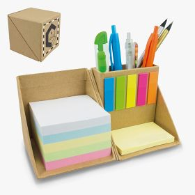 Sticky note cardboard cubes and pencil holders