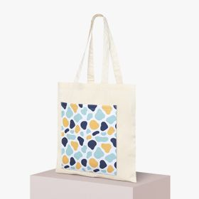 Organic tote bags with all-over print pocket