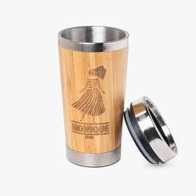 Stainless steel insulated travel mugs with bamboo surface | 400 ml