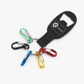 Metal keychains with bottle openers and carabiners
