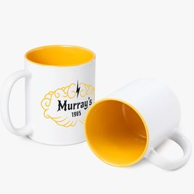 White ceramic mugs with colored inside | 350 ml