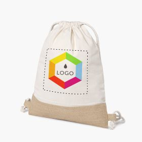 Cotton drawstring bags with jute detail | 150 g/m²