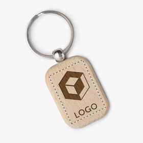 Rectangular wooden keychains with round corners