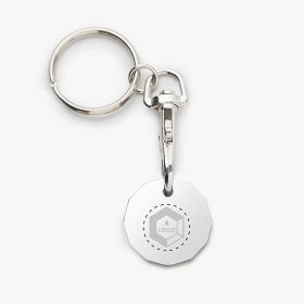 Round metal coin keychains in the shape of a pound sterling