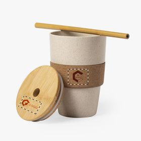 Cups with bamboo straw and cork grip | 450 ml