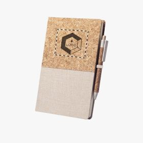 Set of notebook with pen in cork and cotton
