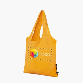 Fold-away cotton shopping bags with drawstring closure | 105 g/m²