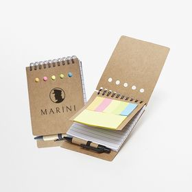 A6 spiral notepads with pen and sticky notes