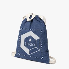Cotton drawstring bags with denim effect