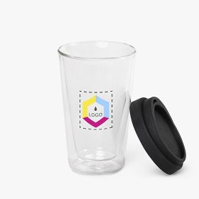 Borosilicate glass travel mug with lid | 350ml