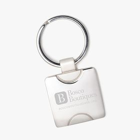 Shiny square keychain  (laser engraved) accessibility.image