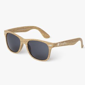 Wooden look classic-frame sunglasses