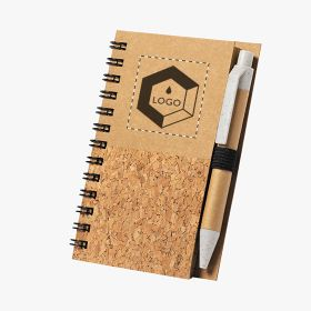 A7 notebooks in cork and recycled cardboard with pen