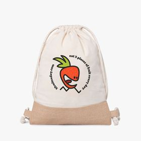Cotton drawstring bags with jute detail