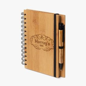 B6 spiral notebooks with bamboo cover and pen