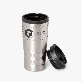 Stainless steel insulated travel mugs with diamond textured grip | 310 ml