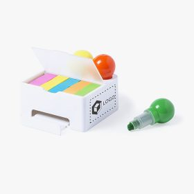 Set of highlighters with mobile holder and sticky notes