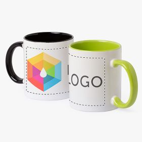 White promotional ceramic mugs with coloured handle and inside | 350 ml