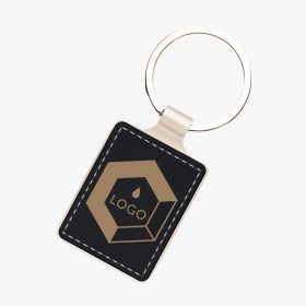 Rectangular leather and metal keyrings