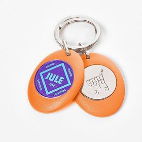 Magnetic keyrings with coin for shopping trolleys