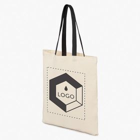 Cotton tote bags with PU leather handles 220 g/m²