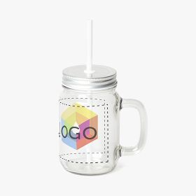 Glass jar with a straw | 350 ml