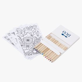 Colour pencils with colouring pages