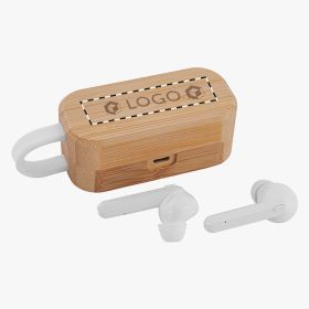 Wireless headphones in a bamboo box